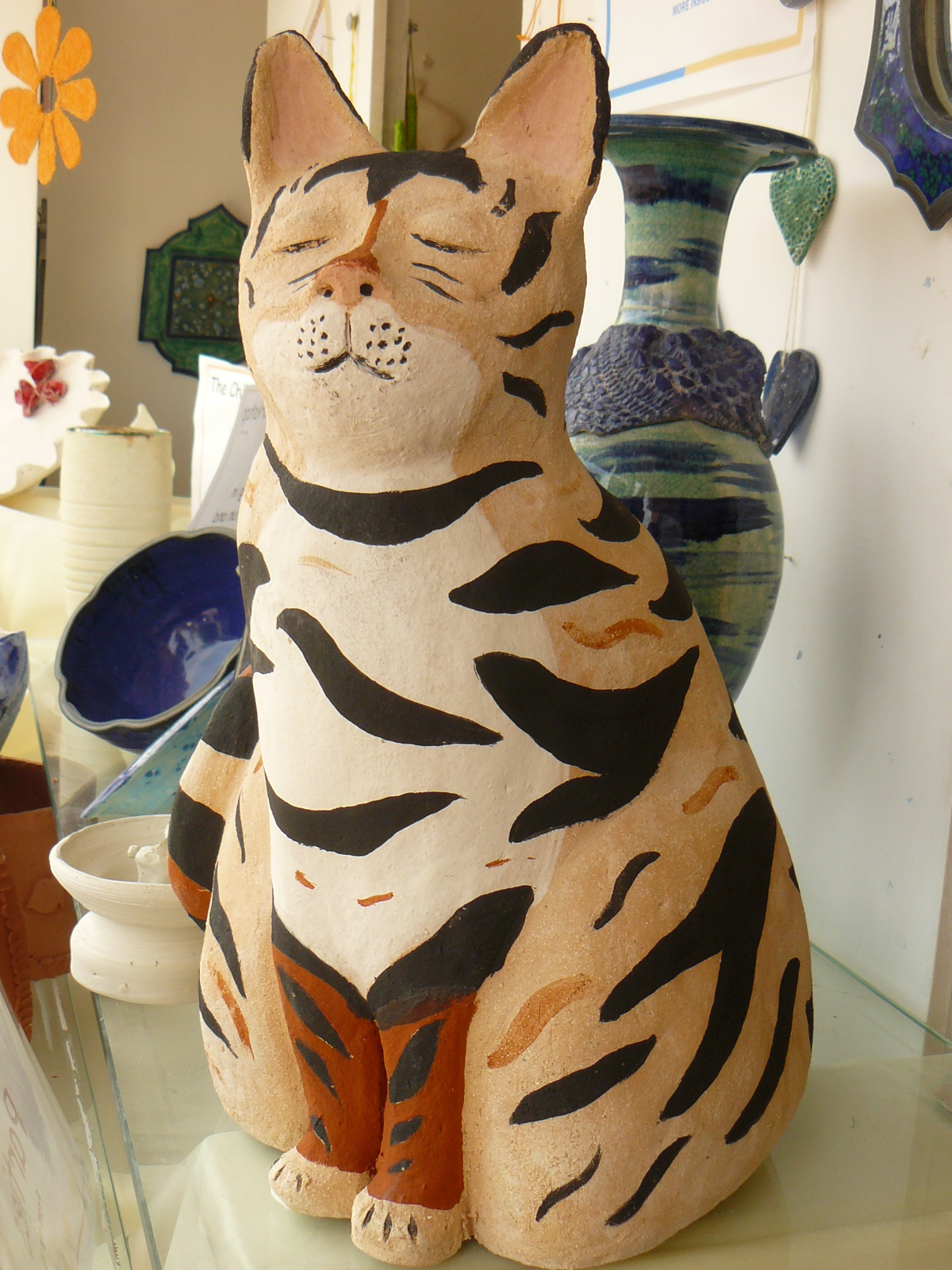 hand sculpted garden clay pottery ceramic cat frostproof