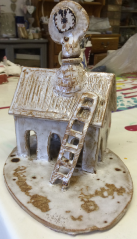 Hand made clay ceramic pottery cottage, workshop, adult