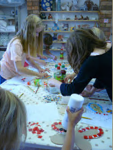 Child making a mosaic