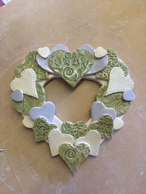 pottery  hand made clay ceramic heart gift wedding birthday workshop