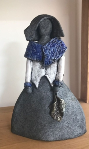 hand crafted made clay ceramic pottery lady