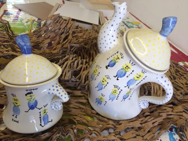 hand painted minions teapot sugar bowl clay ceramic pottery painting in studio