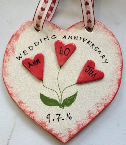 clay ceramic heart anniversary present workshop handmade