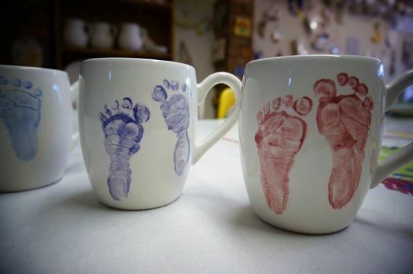 baby print foot on mug