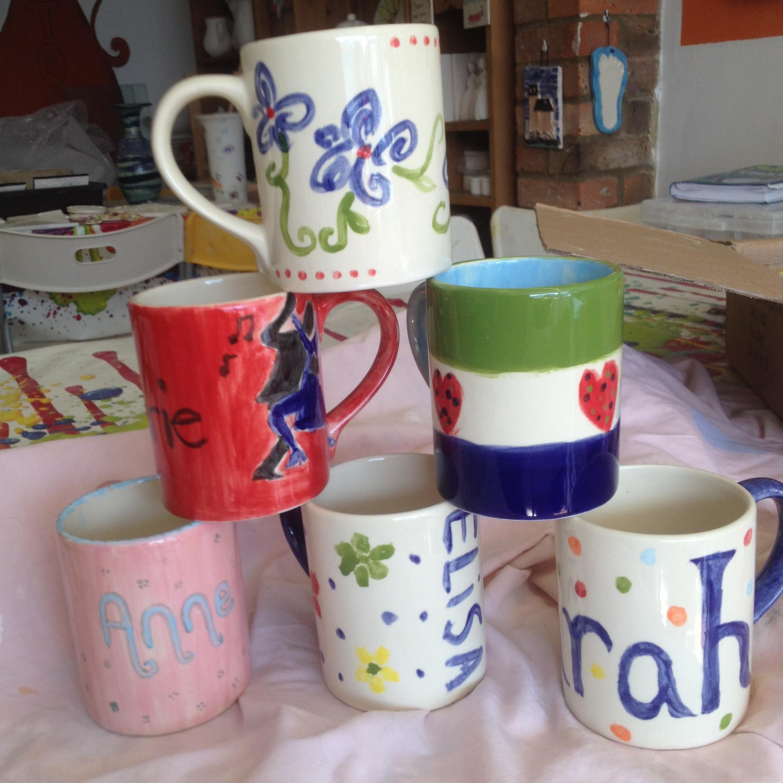 hen party painted mugs ceramic clay pottery sevenoaks kent