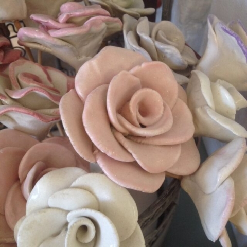 hand made ceramic clay roses wedding gift