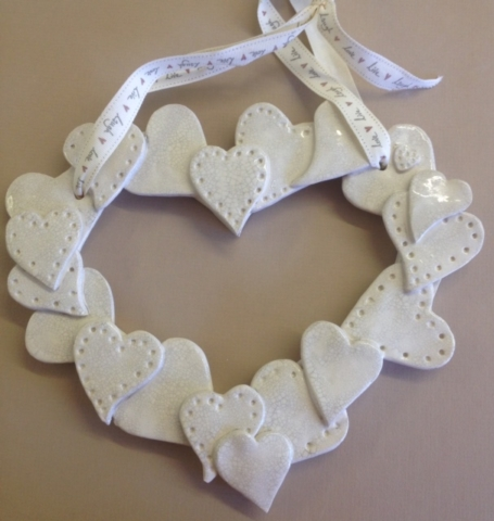 Clay Wedding Hearts ceramic clay hand made special day