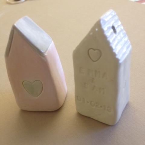 houses celebrate wedding clay ceramic house peersonalised names