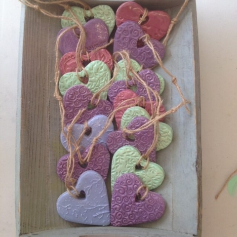 hand made ceramic clay hearts party bag party gift celebration wedding favours gifts
