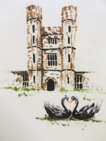 Wedding commemorative plate leeds castle hand painted