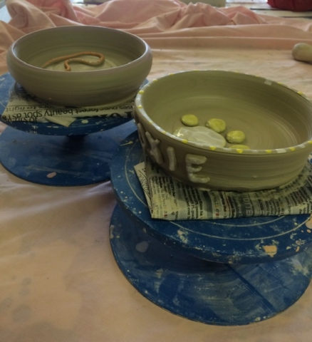throw a pot on the wheel hand painted clay ceramic pottery