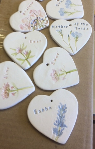 clay ceramic favours wedding hand made personalised
