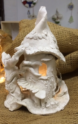 clay ceramic hand made fairy night light house workshop