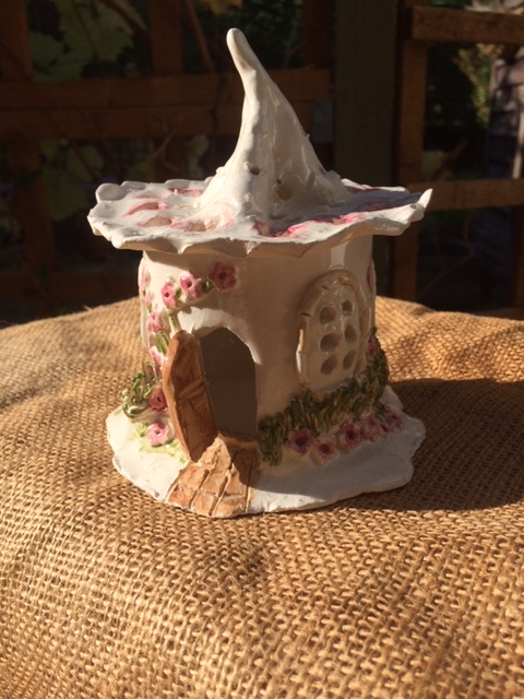 clay ceramic pottery fairy house night light cottage