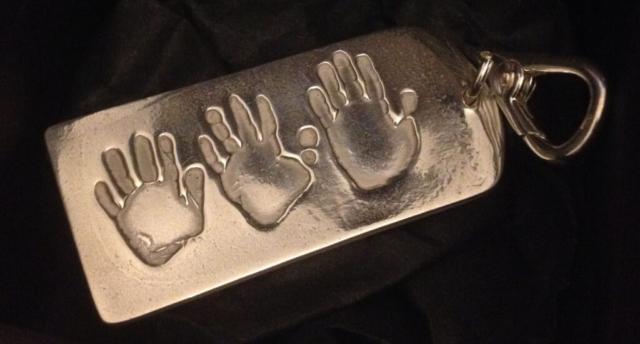 handmade silver handprint keyring baby print