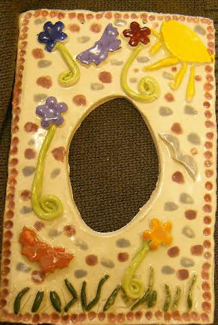 party chid mirror frame clay ceramic pottery sevenoaks kent