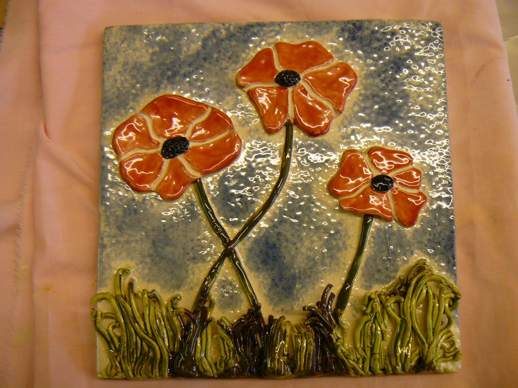 clay ceramic pottery handmade poppies flowers workshop sevenoaks kent