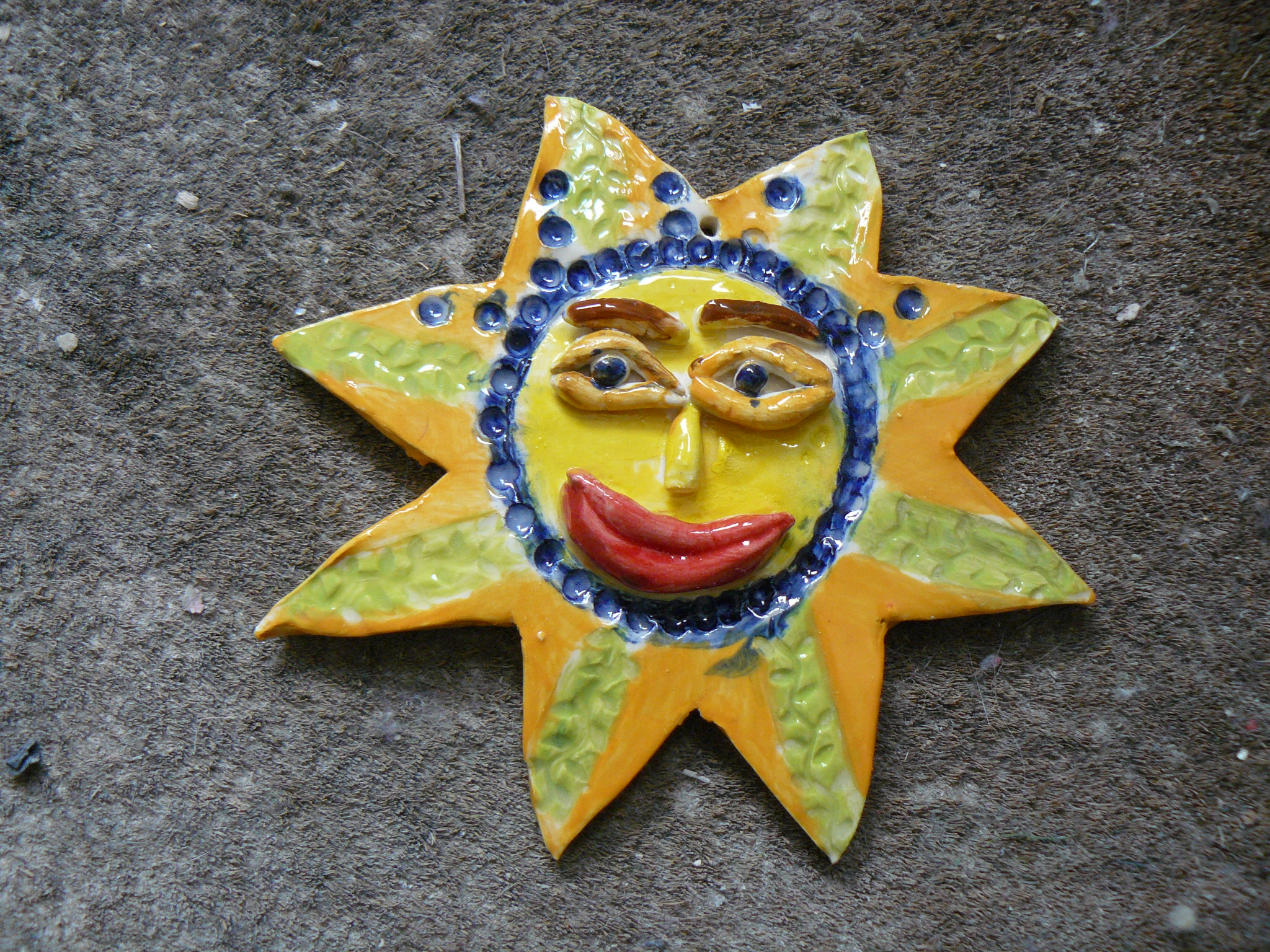 star sun clay ceramic face painted pottery sevenoaks kent