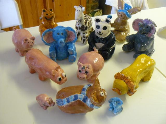 party zoo animals hand made clay ceramic pottery fun children sevenoaks