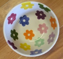 clay ceramic pottery bowl flowers painted sevenoaks kent workshop
