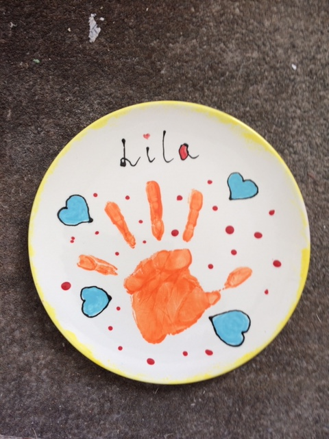 clay ceramic painted pottery plate handprint