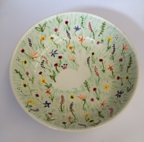 hand painted bowl clay pottery painting ceramic flowers