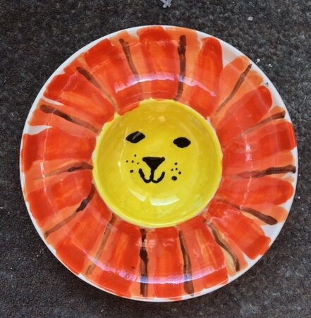 dip plate clay ceramic pottery painting lion workshop