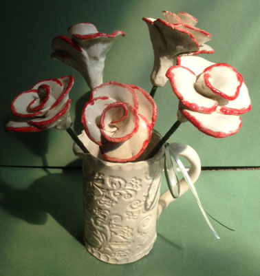 wedding gift hand made clay ceramic pottery roses