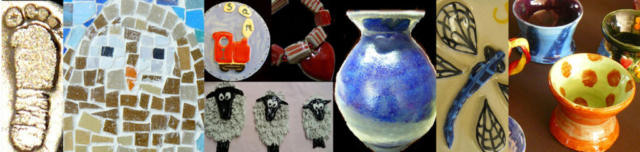 silver clay mosaic train clay ceramic sheep pottery pot dragonfly throw a pot at the studio workshops
