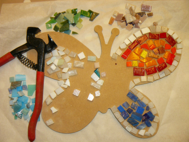 mosaic hand made workshop butterfly