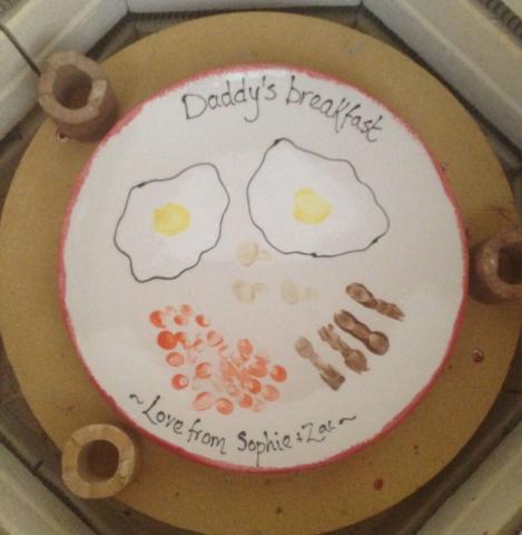 dad breakfast fingerprint plate ceramic clay pottery sevenoaks kent kiln