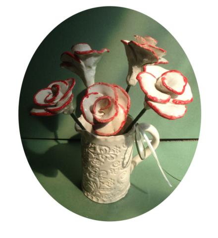 clay ceramic roses hand made pottery wedding anniversary gift sevenoaks