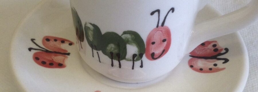 Painted Clay Caterpillar Cup Fingerprints